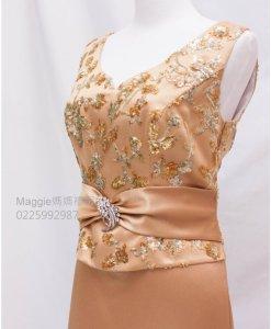 媽媽禮服,金色緞面,亮片晚禮服