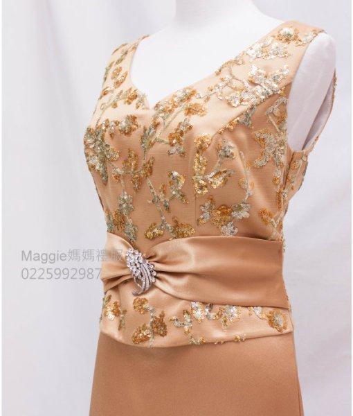 [媽媽禮服]金色緞面亮片晚禮服MS22