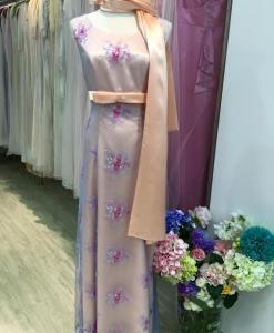 媽媽禮服, 粉膚紫碎花 ,含披肩項鍊