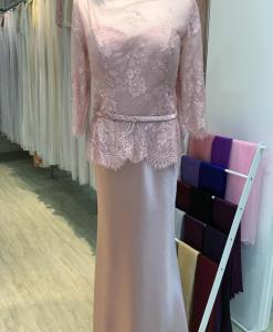 媽媽禮服,粉色豆沙,七分袖,蕾絲晚禮服,緞面魚尾,