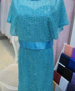 媽媽禮服,湖水藍,晶鑽,2件式禮服
