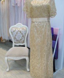媽媽禮服,亮金色,2件式,晶鑽蝴蝶袖禮服