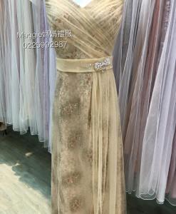 台北媽媽,禮服出租,MS69香檳金亮片,禮服雪紡紗抓褶,