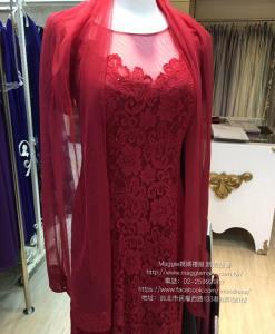 媽媽禮服,網紗,暗紅,蕾絲,六片魚尾