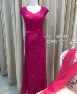 媽媽禮服,桃紅色,蕾絲,A-Line