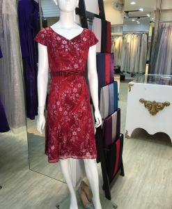 媽媽禮服,玫瑰紅,小花,蝴蝶結,腰帶,洋裝,