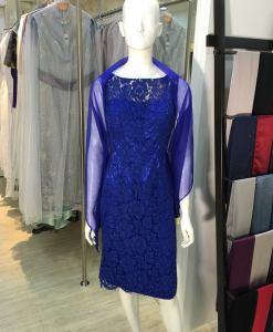 媽媽禮服,亮寶藍,蕾絲,無袖,短洋裝,小禮服