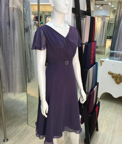 媽媽禮服,紫羅蘭,羅馬領,雪紡紗,荷葉邊,袖短洋裝
