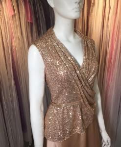 台北媽媽禮服,晚禮服,金色亮片,V領,交叉,腰帶,絲緞