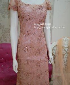 媽媽禮服,淺珊瑚粉紅,手工穿珠,晚禮服