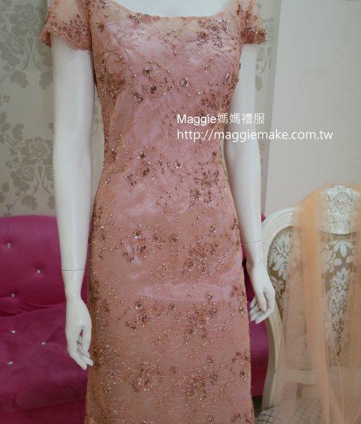 [媽媽禮服]M-38淺珊瑚粉紅手工穿珠晚禮服