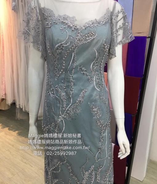 [台北媽媽禮服]MB-31灰藍色蕾絲水袖水鑽珍珠蕾絲氣質高雅晚禮服 (4)