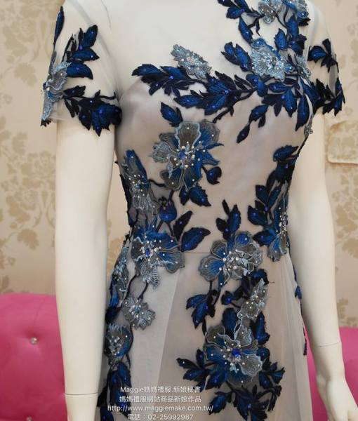 媽媽禮服,A-LINE,晚禮服,細緻灰底網紗,藍色銀色,蕾絲貼花