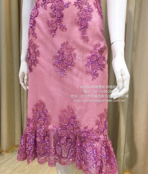 亮桃紅,手工蕾絲,珠工,卡肩晚禮服,短版禮服