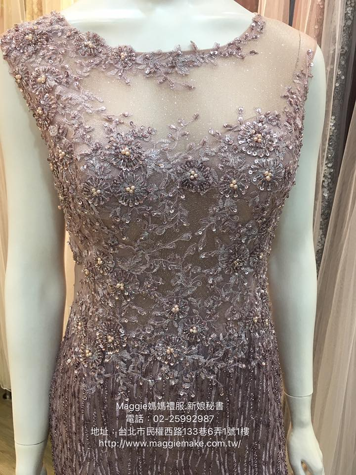 媽媽禮服,手工串珠晚禮服,藕紫串珠晚禮服,水晶,晶鑽星空亮,晚禮服