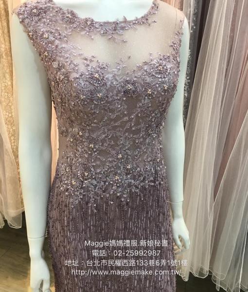 星空晶鑽女神氣質版水晶串珠寬肩媽媽晚禮服