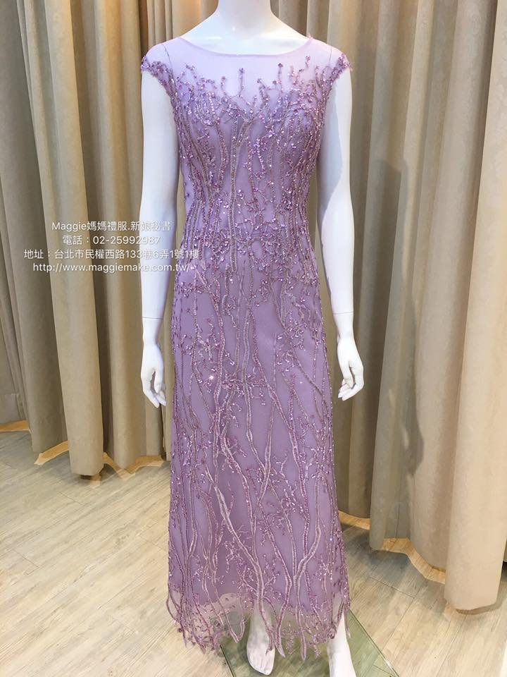 媽媽禮服,藕紫,手工不規則串珠,蕾絲卡間,透紗晚禮服