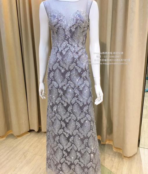 [媽媽禮服]K012葉子卡肩裸紗心型領星鑽晚禮服