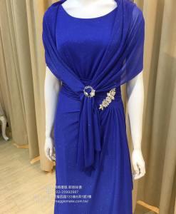 媽媽禮服,亮寶藍,亮晶晶,繁星布料,彈性,晚禮服