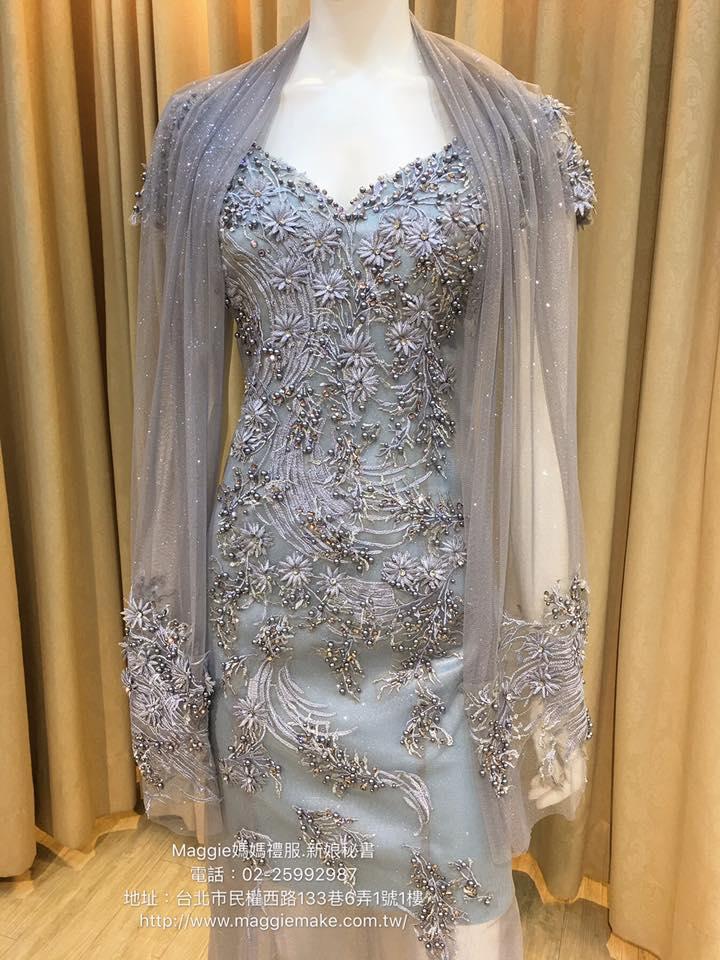 媽媽禮服,冰晶藍,蕾絲,淺色藍珍珠,名媛風,晚禮服