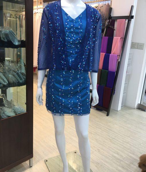 媽媽晚禮服,藍色小禮服,手工亮珠,小外套晚禮服
