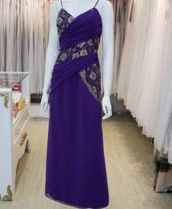台北媽媽禮服,紫色,雪紡紗,V領,亮片,繡花,長禮服,披肩