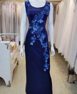 台北媽媽禮服,藍色,緞面,圓領,亮片,刺繡,長禮服,披肩