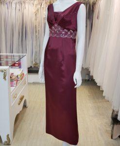 台北媽媽禮服,紅色,緞面,亮片,蕾絲,長禮服,披肩