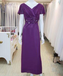 台北媽媽禮服,紫色,雪紡紗,V領,短袖,串珠,長禮服,披肩