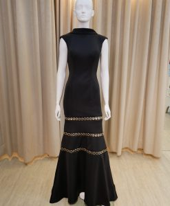 黑色,翻領,深V,美背,長禮服,媽媽禮服,婆婆禮服,主婚人,台北媽媽禮服, ,媽媽裝禮服,媽媽宴客禮服,媽媽晚宴服