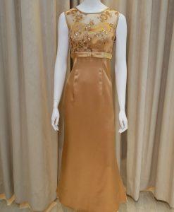 金色,緞面,圓領,亮片,刺繡,長禮服,披肩