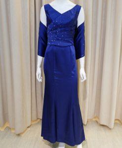 藍色,緞面,V領,亮鑽,魚尾裙長禮服,披肩