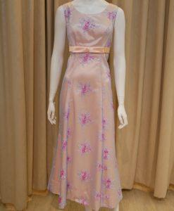 粉色,蕾絲,圓領,A-line,長禮服,披肩
