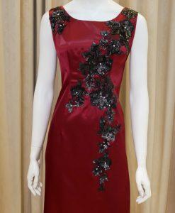 紅色,緞面,亮片,刺繡,圓領,長禮服,披肩