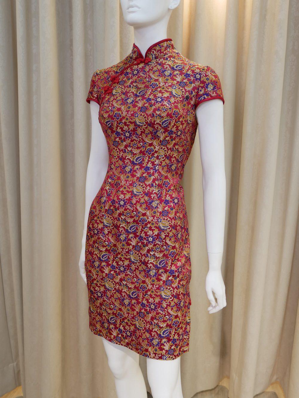 紅色,緞面,短袖,短旗袍