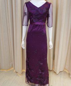 紫色,緞面,蕾絲,亮鑽,V領,五分袖,長禮服,媽媽禮服,婆婆禮服,主婚人,台北媽媽禮服, ,媽媽裝禮服,媽媽宴客禮服,媽媽晚宴服