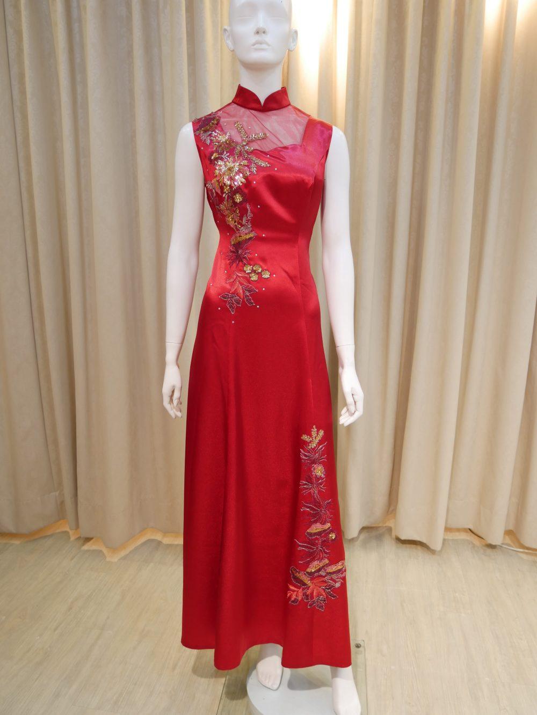 紅色,緞面,亮片,刺繡,薄紗領,無袖,A-line,長旗袍,披肩,媽媽禮服,婆婆禮服,主婚人,台北媽媽禮服, ,媽媽裝禮服,媽媽宴客禮服,媽媽晚宴服
