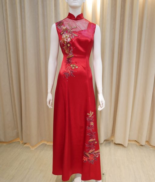 (台北媽媽禮服)C28紅緞面手工亮片刺繡薄紗立領無袖A-line長旗袍