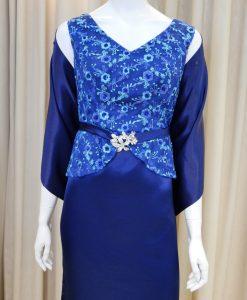藍色,緞面,亮片,刺繡,V領,長禮服,披肩