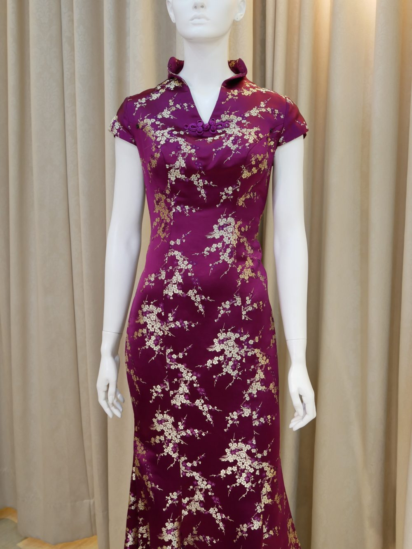 紫色,緞面,金色,短袖,魚尾裙,長旗袍