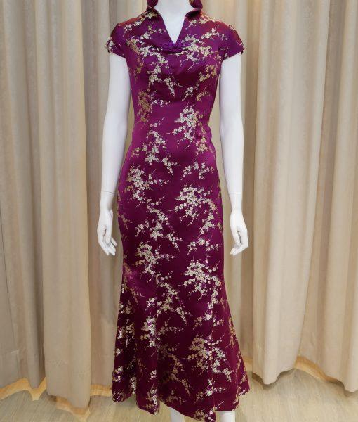 (台北媽媽禮服)MS87紫緞面金色梅花V型低領短袖魚尾長旗袍