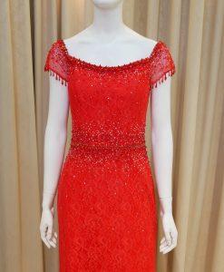紅色,蕾絲,亮鑽,串珠,紗袖,美背,寬領,魚尾裙,長禮服,媽媽禮服,婆婆禮服,主婚人,晚宴服,台北媽媽禮服, ,媽媽裝禮服,媽媽宴客禮服,媽媽晚宴服