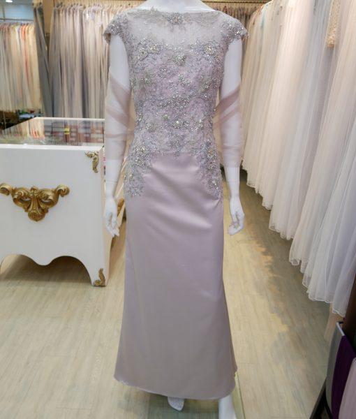 (台北媽媽禮服)MK07氣質藕粉珠工亮鑽卡肩緞面長禮服