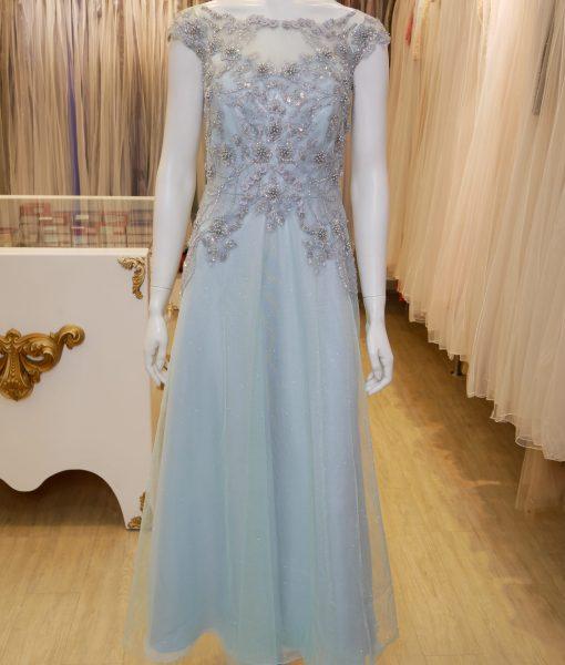 (台北媽媽禮服)MK16唯美水藍珠工亮紗裙擺A-line長禮服