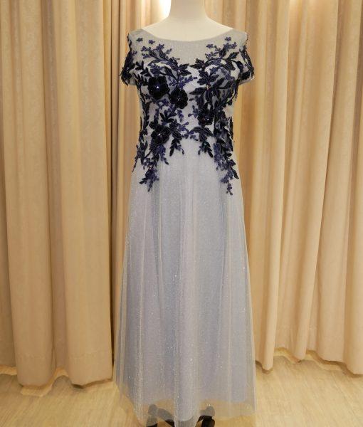 (台北媽媽禮服)MK14大尺碼優雅淺藍亮紗蕾絲貼花短袖長禮服