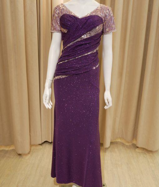 (台北媽媽禮服)MK25亮紗紫抓皺粉亮片蕾絲短袖長禮服