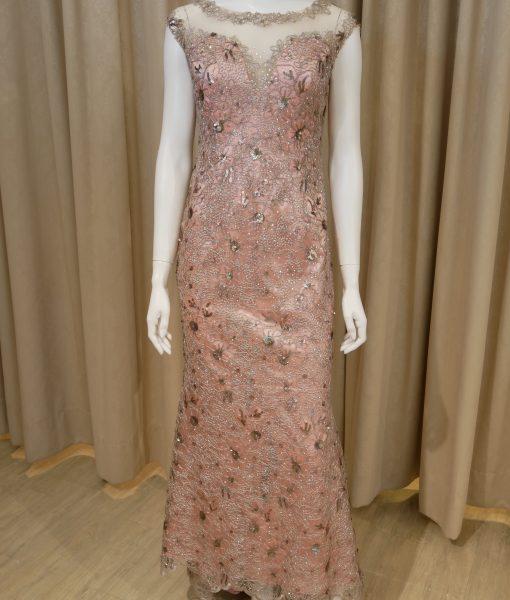 (台北媽媽禮服)MK27氣質粉緞可可金蕾絲亮鑽小拖尾長禮服