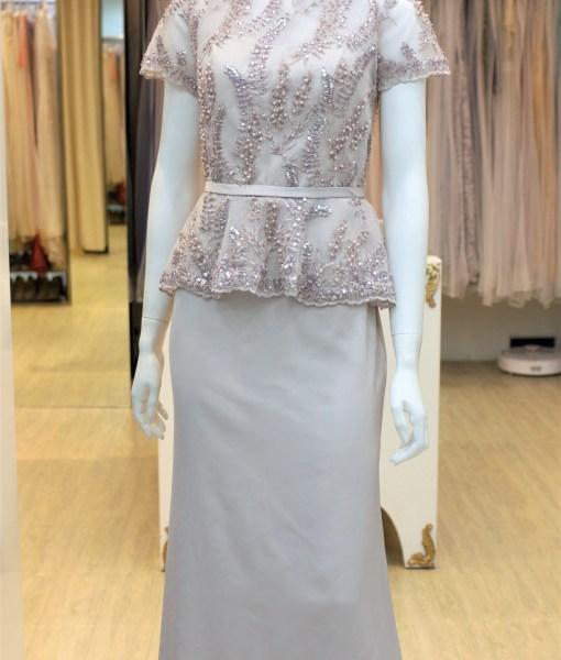 (台北媽媽禮服)MK30氣質藕色緞上身亮片珠工短袖長禮服