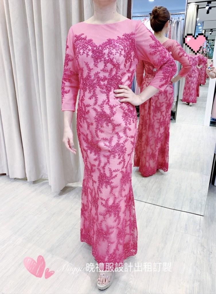 桃紅色,有設計感的,閃閃亮亮襯膚質,媽媽禮服,手工晚宴服,台北媽媽禮服,晚禮服訂製,