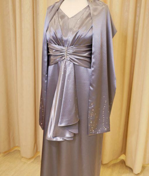 (台北媽媽禮服)MS101修身大尺碼銀灰緞面長禮服